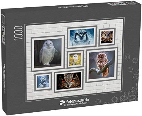 fotopuzzle.de 1000 Teile Puzzle Collage Eule - klassisches Puzzle als Foto-Collage mit 7 Eule-Bildern