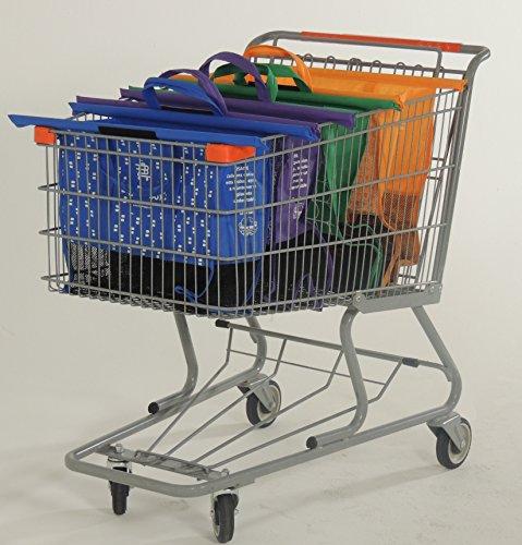 BIG BAGGY - Bolsas Reusables - Kit de 4 bolsas reusables en colores Naranja, Verde, Morado y Azul. Adaptadas para carritos de supermercados en Mexico (Walmart,...