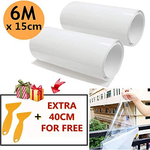 Mioke 2 Rolle 3M Lackschutzfolien für Auto Einsatz als Auto Folie Schutzfolie Selbstklebend Transparent mit 2 Schabern (15 * 300cm)