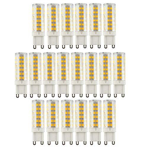 Ruihua - Bombilla LED G9 de 9 W, equivalente a una lámpara halógena de 85 W, 3000 K, luz blanca cálida, no regulable, ángulo de haz de 360 °, 850 lúmenes G9 AC220-240V, 20 unidades