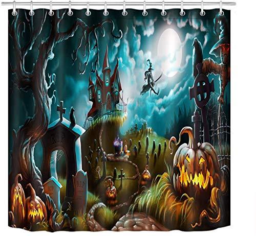ETOB Halloween Pumpkin Shower Curtain Decor, Horror Night Graveyard Background Shower Curtains 72X72 inch Polyester Fabric Bathroom Decorations Bath Curtains Hooks Included