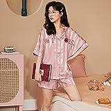 ML S HJDY Pijamas para Mujeres De Manga Corta Ropa De Dormir Loungewear Satin Pijamas Dibujos Animados Verano Home Wear Ladies Silk Nightwear Set,Rosado,XXL