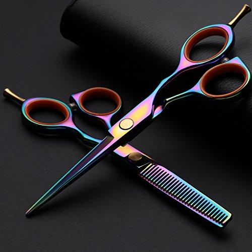 UWILD®Professionell Haarschere Friseurschere Set Professionell Haarscheren Set Friseur Scheren Set 5.5 Zoll 15,5 cm mit (2-er Set) Umfassen Taschen und Kamm (Colorful)