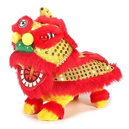 lijun Neujahr elektrischer Löwentanzroboter Interaktives Blinken Glückliches Löwenspielzeug Elektronischer Plüsch Tierwandeln Tanzen Musikspielzeug Festliche Partydekoration Unterhaltungsbedarf