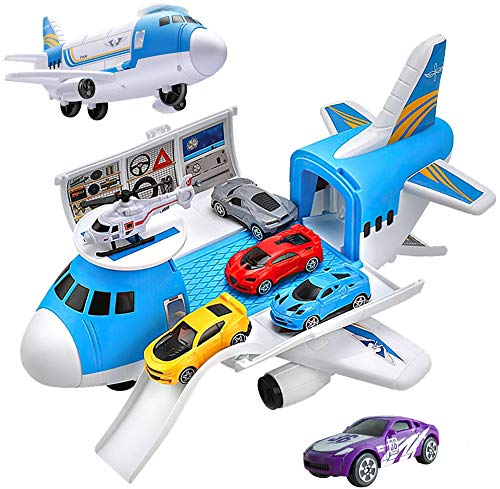 Huanchenda Airplane Toys Set with Transport Cargo Airplane and 5pcs Mini Vehicle Car Toys for 3 4 5 6 Year Old Boys and Girls (Airplane Toy 2)