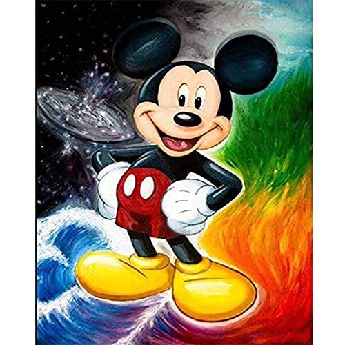 CYSJ Mickey Mouse Kit de Pintura de Diamantes Número DIY 5D Punto de Cruz Artes de Diamantes de imitación,Manualidades para Decoración de la Pared del Hogar Manualidades 30X40cm