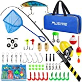 PLUSINNO Kids Fishing Pole, Portable Telescopic Fishing Rod and Reel Combo Kit - with Spincast...