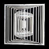 Edelstahl-Windspiel Quadrat Höhe 15cm x Breite 15cm fein groß Für den Garten und als Fensterschmuck