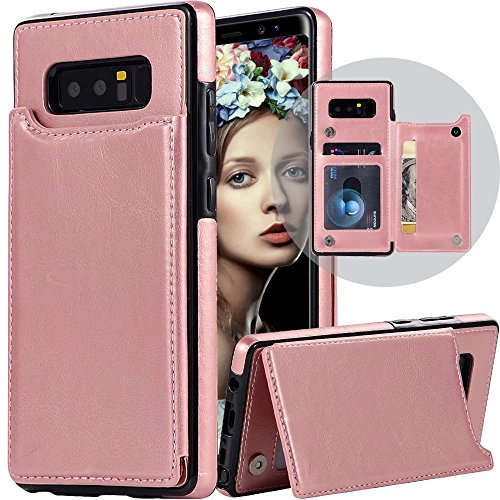 Galaxy Note 8 Wallet Case for Women/Men,Auker Folding Stand Folio Flip Leather Slim Wallet Case with Card Holder Magnetic Closure Secure Fit Protective Purse Case for Samsung Galaxy Note8 (Rosegold)