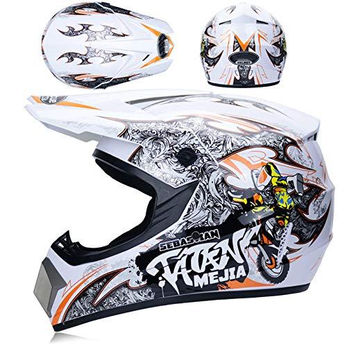 Off-road helm mannelijke veiligheidshelm tiener volwassene karting helm mountainbike motorhelm-Wit oranje kid_XL