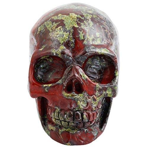 rockcloud Healing Crystal Stone Human Reiki Skull Figurine Statue Sculptures Dragon Blood Stone 3'