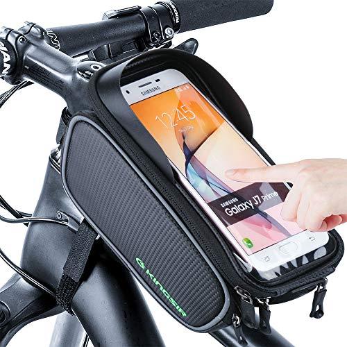 Hospaop Fahrrad Rahmentasche, Wasserdicht Fahrradtasche Lenkertasche Handyhalterung Handyhalter Handytasche mit Sonnenblende Kopfhörerloch TPU Touchscreen für Smartphone unter 6,0 Zoll