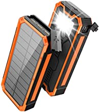 Solar Charger 30000mAh, Solar Power Bank, PD 18W QC 3.0 Quick Charge with 4 Outputs Dual Inputs USB Type C, External Backup Battery Huge Capacity Phone Charger for iOS and Android(Orange)