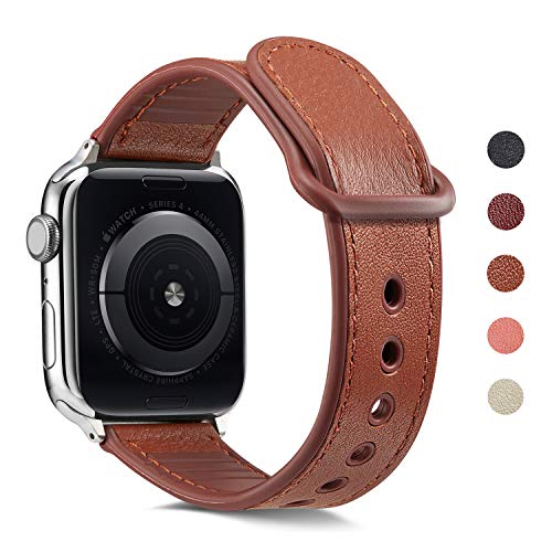 Erwubala Sport Watch Band Compatible with Apple Watch Band 38mm 40mm 42mm 44mm,Genuine Leather+Premium TPU Replacement Sport Strap iWatch Band for Apple Watch Series 5/4/3/2/1 (Brown, 42mm/44mm)