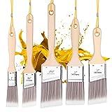 Emitever Paint Brushes Set-5 Piece, Wood Handle, Premium Wall Brush Set, House Paint Brush, Trim Paint Brush, Sash Paint Brush for Cabinet, Sash, Home Improvement Trim Edging