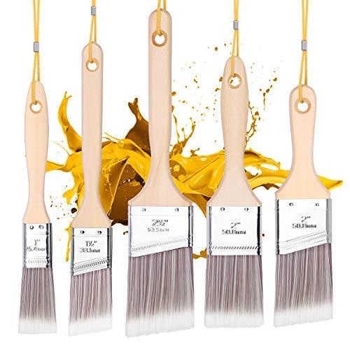 Emitever Streichpinsel-Set, 5-teilig, Holzgriff, Premium Wandpinsel-Set, Hausmalpinsel, Zierleistenpinsel, Fensterrahmenpinsel für Schrank, Fensterrahmen, Heimwerkerverkleidung