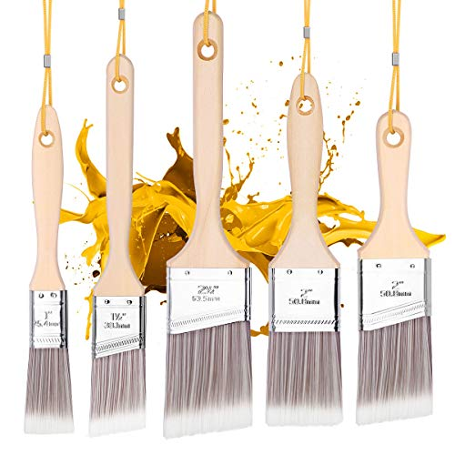 Emitever Lasurpinsel Set 5-teilig, Holzgriff, Profi Malerpinsel Set Premium Flachpinsel Lackpinsel Set Wandfarbe Lasurpinsel Set zum Holz Streichen Fensterrahmenpinsel Hausmalpinsel