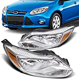 ECOTRIC Pair Headlights Head Lamps Compatible With 2012 2013 2014 Ford Focus Left+Right/Driver+Passenger Chrome Housing Trim(Halogen Type)