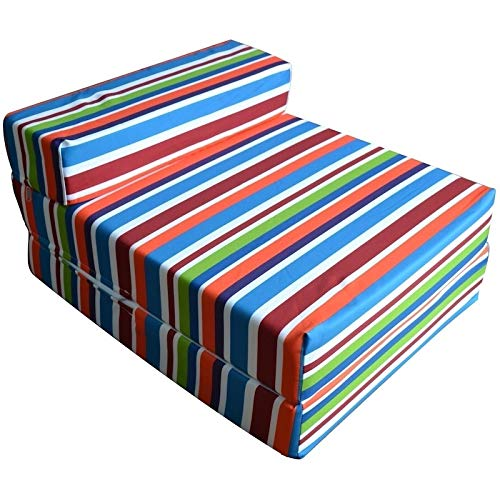 BUY ALL HERE 3 in One Z Bed, Chair, Folding Sofa Bed – Super Soft & HQ Foam Mattress | Breathable | Hypoallergenic | Waterproof Washable Cover - Multi Colour Stripes