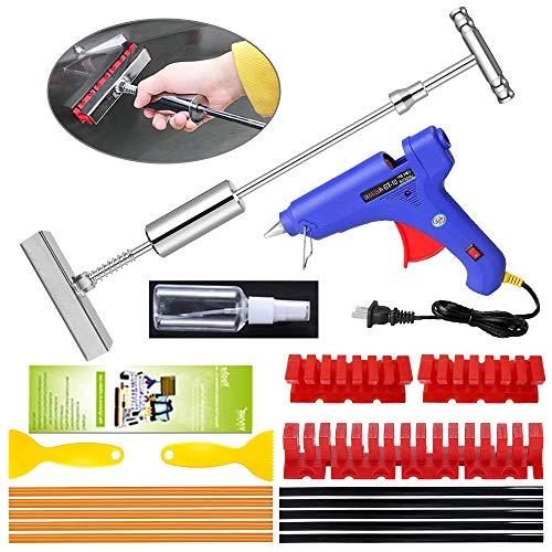 YOOHE Car Dent Puller - 28pcs Paintless Dent Repair Kit, Dent Puller Kit with T-bar Slide Hammer dent Puller and Thickened Dent Puller Tabs for Repair Car Body Hail Dent Removal