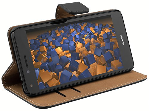 mumbi Echt Leder Bookstyle Case kompatibel mit Huawei Y3 Hülle Leder Tasche Case Wallet, schwarz