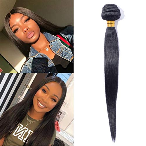 SEGO 6A Virgin Hair Bundles Sew in Hair Extensions Silky Straight 100% Unprocessed Brazilian Human Hair Weave Hair Weft Extensions for Women #1B Natural Black 20 Inch 100g