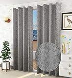 Decoscapes Luxurious Velvet Room Darkening Curtains for Door Pack of 2 Pieces (Charcoal Grey, Door 7...