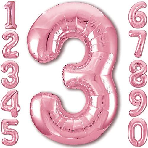Luftballon 3. Geburtstag Zahl 3 Rosa XXL Riesen Folienballon 100cm Geburtstagsdeko Mädchen Ballon Zahl Deko zum Geburtstag. Fliegt mit Helium.