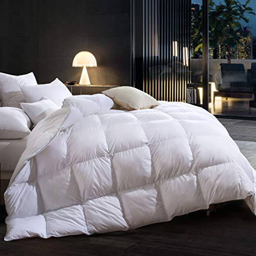 Goose Down Comforter King Size,Duvet Insert All Seasons Down Comforter,100% Cotton Cover Filled 65 oz High Fill Power,Hypoallergenic&Durable…