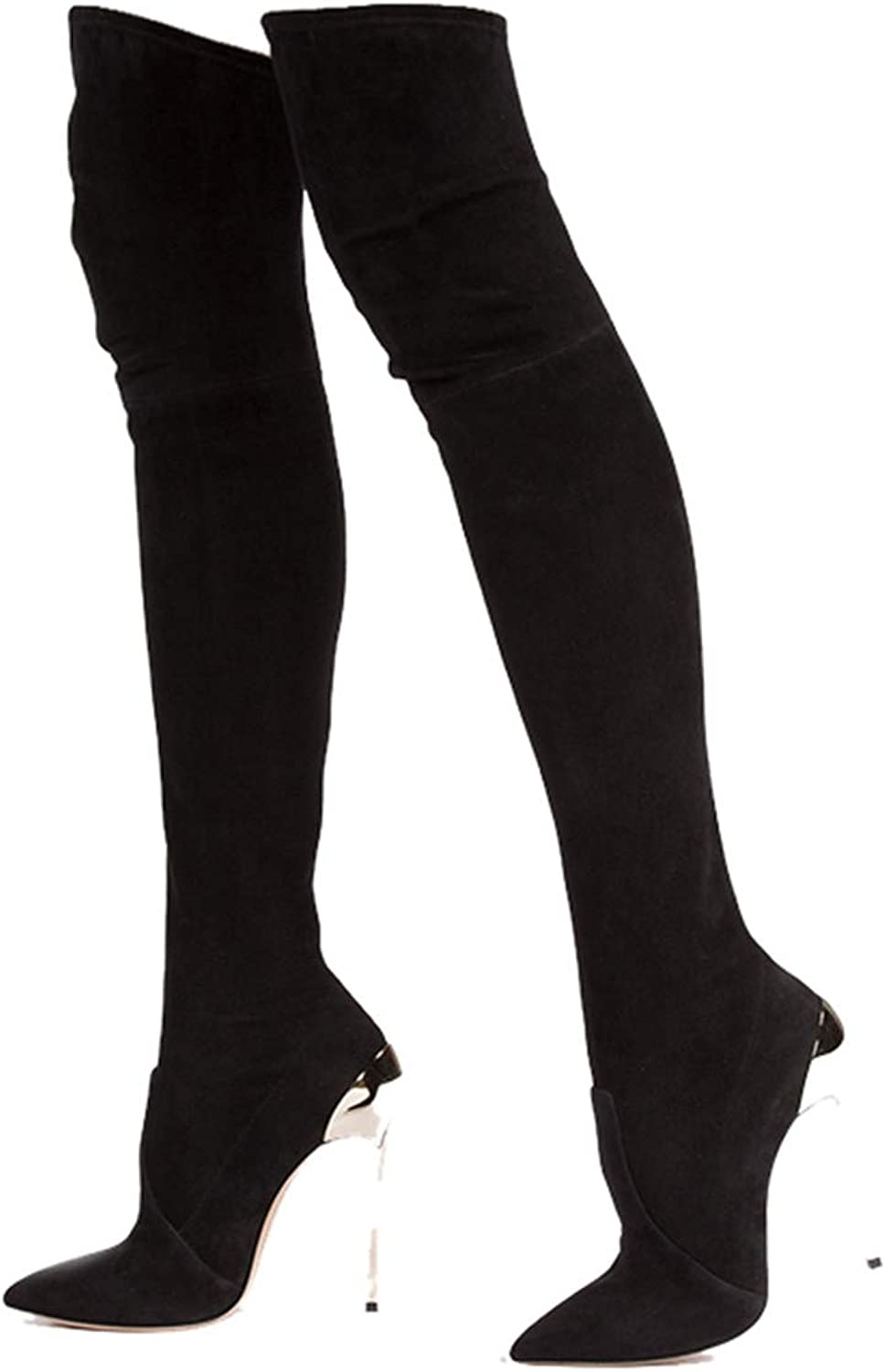 Leroyca Autumn Winter Women Boots Stretch Faux Suede Slim Thigh High Boots Over The Knee Boots High Heels shoes