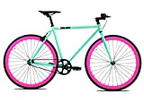 Golden Cycles Single Speed Fixed Gear Bike with Front & Rear Brakes (Betty 48), Celestial/Pink