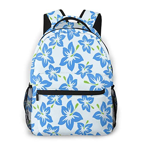 Lawenp Fashion Unisex Backpack Hibiscus Flowers Bookbag Lightweight Laptop Bag for School Travel Outdoor Camping
