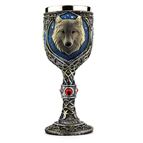 EZESO Wolf Coffee Goblet Cup Stainless Steel Resin Travel Tea Wine Beer...