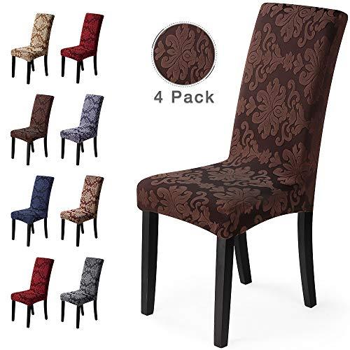 Fundas para sillas 4Piezas Funda de Silla Comedor Stretch Cubiertas para sillas Extraíble Lavable Cubierta de Asiento Fundas sillas Duradera Modern Boda Decor Restaurante(4Piezas,Jacquard-Marrón)