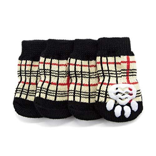 SHENGHUI Klassische Hund Pet Socken rutschfeste Baumwollsocken Hund Fuß Cover Teddy Pudel Verwenden Hundeschuhe Socken PS049 (Color : Plaid British Wind, Size : M)