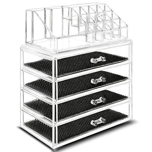 TRESKO Organizer porta trucchi, per conservazione dei trucchi, in cristallo trasparente impermeabile, organizer per Make Up, cosmetici, per bagno, tavolo (6 Cassetti (23,7 x 13,5 x 27,5 cm))