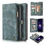 Wangqianli Boîtier de portefeuille en cuir à la main en cuir multifonctionnel multi-fonctionnel de deux en un avec des fentes de carte de crédit et une couverture amovible, porte-monnaie à glissière p