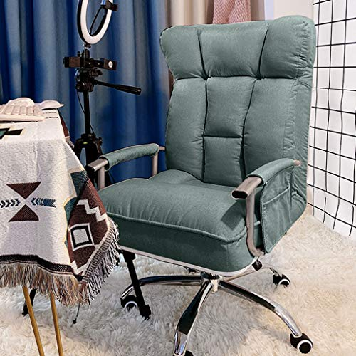 HQBL Ergonomic Adjustable Computer Sofa Chair,Big and Tall Padded Gaming Chair with Armrests and Pillow,Swivel Executive Office Chair,180° Recliner for Home