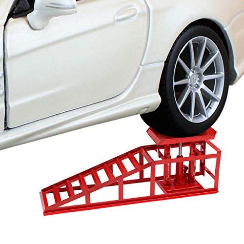 COSTWAY Auffahrrampe mit hydraulischen Wagenheber, PKW Rampe höhenverstellbar, Auffahrbock Hebeplattform, Verladerampe belastbar bis 2000kg