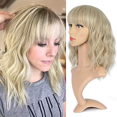 NAYOO Natural Wavy Wig With Air Bangs Short Bob Wigs for Women's Shoulder Length Wigs Curly Wavy Cosplay Wig Bob Wig for Girls (16H613#Light Ash Brown & Bleach Blonde)