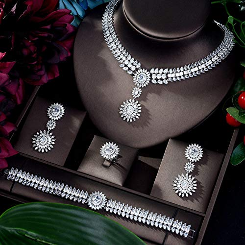 Luxury Sparking Brilliant Cubic Zircon Drop Earring Necklace Heavy Dinner Jewelry Set Wedding Bridal Dress Party ShanDD (Color : White)