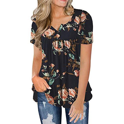 Camiseta de manga corta con cuello en V para mujer, estilo casual, con botones, sexy, sin mangas, con detalles de chaleco
