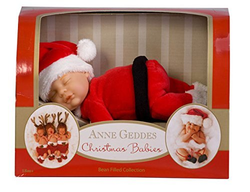 Anne Geddes 9 inch Baby Santa Doll / de Kerstman Pop - Christmas Babies Bean Filled Collection / Kerst Baby Bean Gevulde Collectie