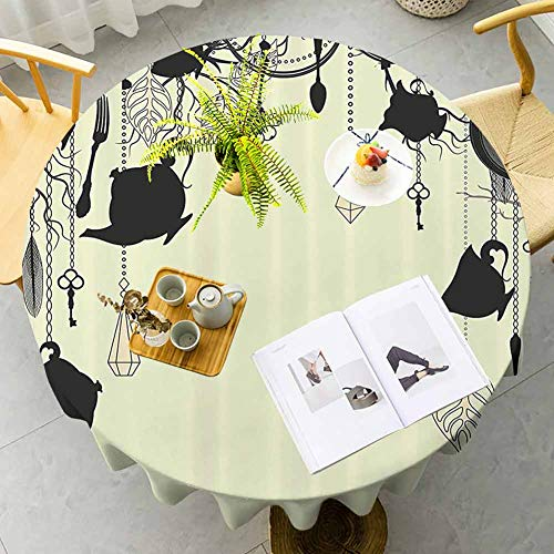 Antigua decoración cafetería mesa redonda fondo antiguo con tema de fiesta de té diamantes plumas tenedores cucharas imagen fácil cuidado negro aguacate verde diámetro 39 pulgadas