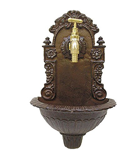 zeitzone Kleiner Wandbrunnen Nostalgie Waschbecken Antik-Stil Gusseisen Braun 39cm