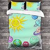 AIMILUX Funda Edredón,Espacio,Lindo Sol de Dibujos Animados y Planetas del Sistema Solar Divertido gráfico Celestial Tema de guardería para bebés y niños,Ropa de Cama Funda Nórdica,220x240cm