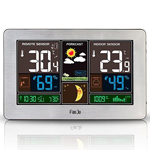 FanJu FJ3378 Funkwetterstation mit Weckfunktion und Temperatur/Feuchte/Barometer/Wecker/Mondphase/Uhr (Silber)