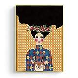 Estilo moderno Handdraw Personajes Colorido lienzo pintura cartel decoración pared arte imagen para sala de estar 60x90 cm