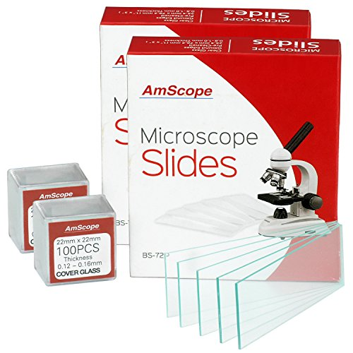 AmScope BS-72P-100S-22 72 Pieces of Pre-Cleaned Blank Microscope Slides (2 Count)