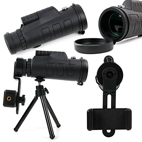 tripod with telephoto zoom lens